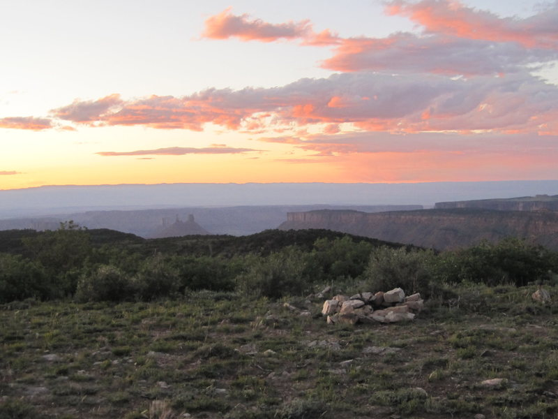 A distance view of Castleton from below the La Sal mountains.