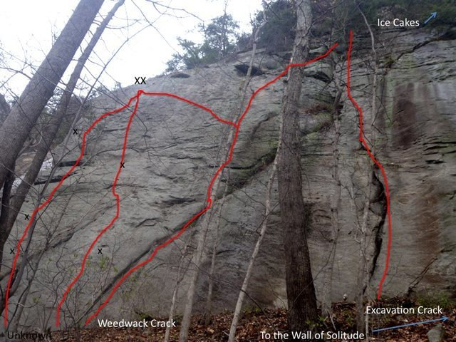Moderate routes on the Far Right side of the Hanging Chain Wall