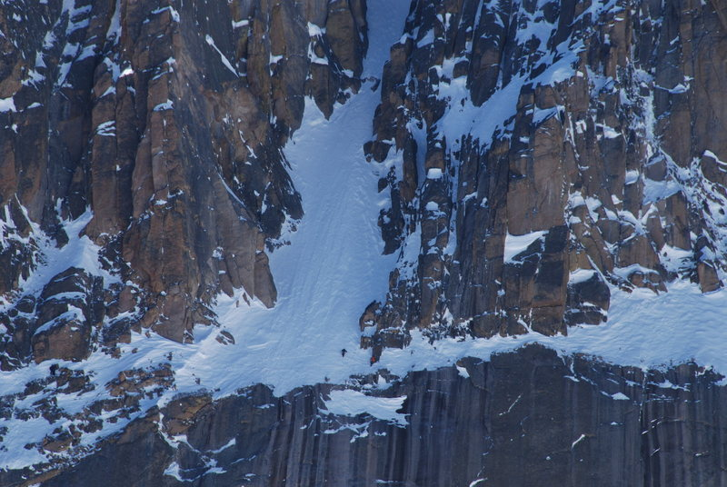 Traversing below The Notch on our failed winter attempt.