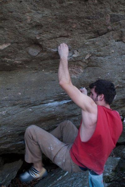 "Aaron James Parlier past the first three moves on ""Parlier's Problem""(V8)"
