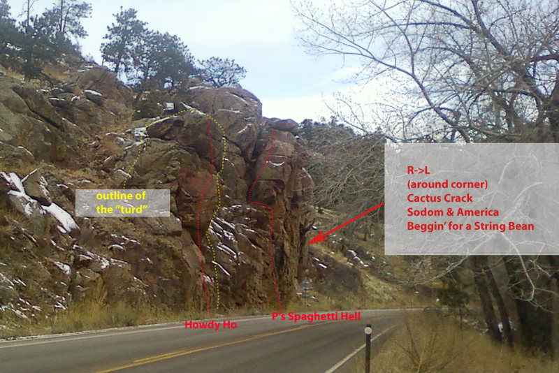 Rock Climbing Photo: The dotted line indicating Howdy Ho is not quite r...