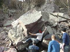 Rock Climbing Photo: Dobbe sticking the throw.