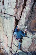 Rock Climbing Photo: The upper, super fun section of Birthday Crack. Ph...