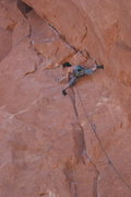 Rock Climbing Photo: Falon on the first pitch of Anaconda.