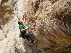 Rock Climbing Photo: Mid-air on the mono dyno.  Probably best not to tr...
