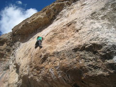Rock Climbing Photo: Reaching the end of the business.  The route is 5....