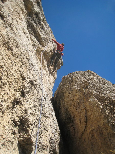 Mike monkeying his way through the crux.