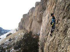 Rock Climbing Photo: Janelle cruising Action Candy with the Killer Cave...