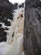 Rock Climbing Photo: Dave Rone up high on the steeper more sustained ri...