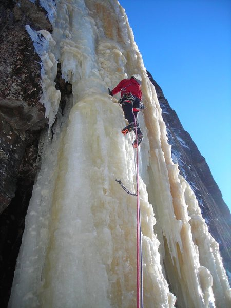 """Dave Rone on """"Icebreakers"""" mid-March 2011.  The best shape I personally have ever seen this route in."""