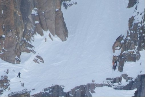 Climbers on Broadway crossing the Notch Couloir