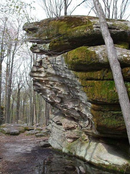 Larger boulder, challenging overhang.