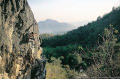 Rock Climbing Photo: Cruising above the lush jungle of the Mae-on valle...