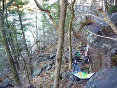 Rock Climbing Photo: Sweaty on the big move to the sloper.  April 2011....