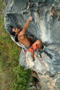 Rock Climbing Photo: Muad on thin side pulls at Buddha Buttress