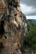 Rock Climbing Photo: Climbing Into the Sun as a monsoon storm builds om...
