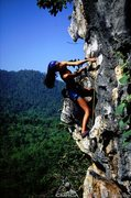 Rock Climbing Photo: Climbing high on the second pitch of It's Got To B...