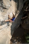Rock Climbing Photo: Climbing on the hardest route at Crazy Horse