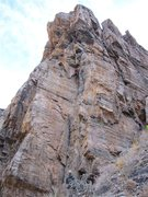 Rock Climbing Photo: Steps to the right out of the weakness Geir is in ...