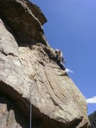 Rock Climbing Photo: Placing some gear after the crux.