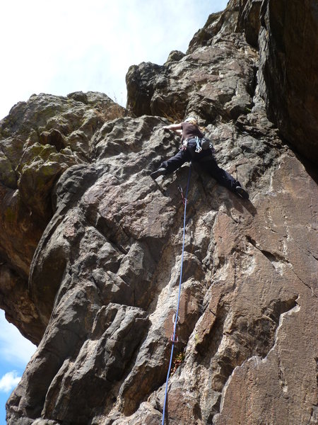 Rock Climbing Photo: Lower crux at 3rd bolt.