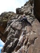 Rock Climbing Photo: Lower crux at 3rd bolt.
