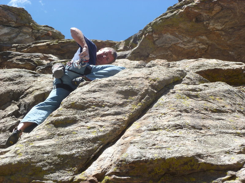Above the lower crux at a nice stance.