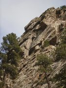 Rock Climbing Photo: Above 1st roof and headed for the 2nd. Taken from ...