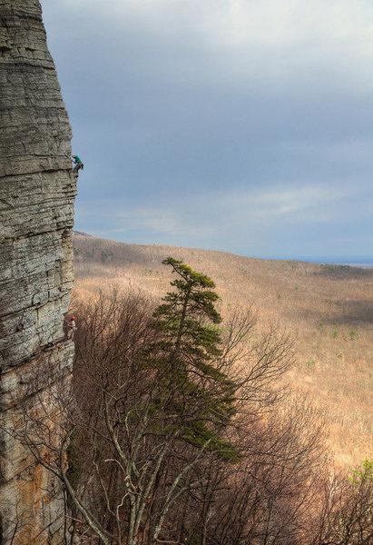 Rock Climbing Photo: The beautiful Directissima arete. Photo taken by D...