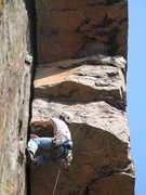 Rock Climbing Photo: Traversing under the first roof. You need a large ...