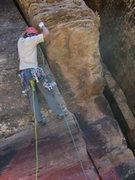 Rock Climbing Photo: Corey Gargano making the exposed face moves to sta...
