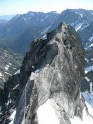Rock Climbing Photo: Justus on the knife-edge section of the ridge.