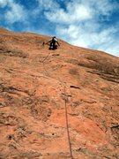 Rock Climbing Photo: Deb at the crux.