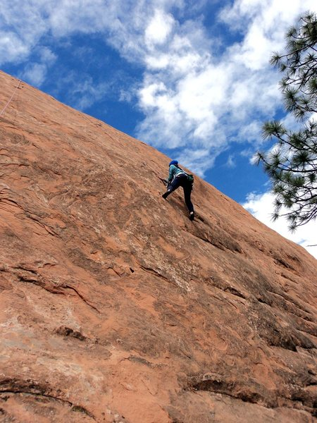 Rock Climbing Photo: Deb at what seemed like the crux.  The right foot ...