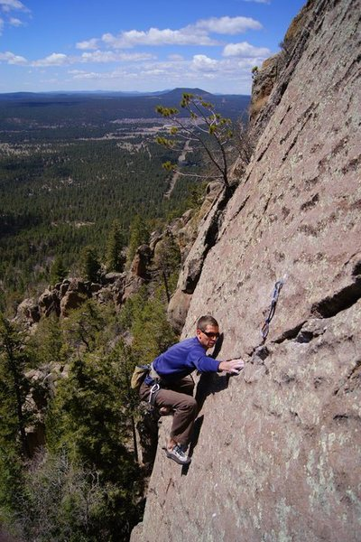 Rock Climbing Photo: David D. going for the pocket pinch.  Wade Forrest...