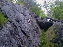 Rock Climbing Photo: Me on unknown route @ Rumney