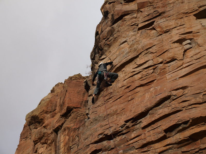 AA upper head-wall after the crux. Pumpy!