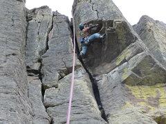 Rock Climbing Photo: Doug crossing the roof