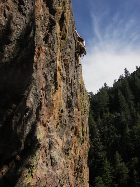 Rock Climbing Photo: Andrew Seymour running it to the top on Arms Reduc...