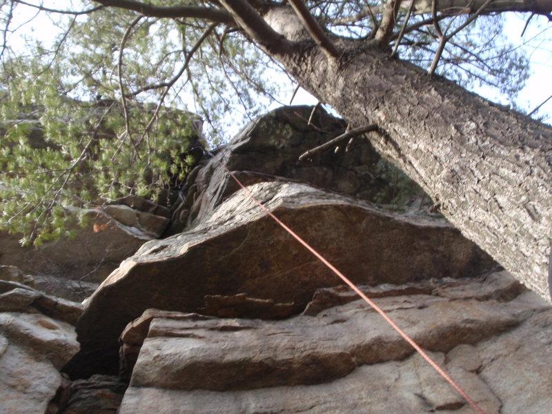 "Rock Climbing Photo: Third pitch.  Crux hint: think ""mantle"""
