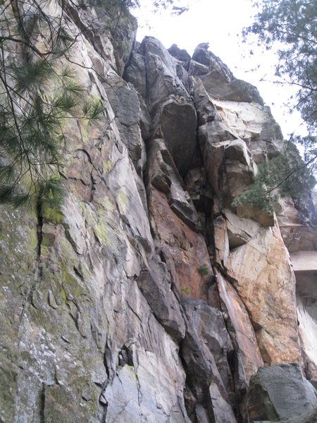 Rock Climbing Photo: Spider is the line in the middle of the picture an...