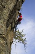 Rock Climbing Photo: Jay committing to a spooky clip on Wild Blue Yonde...