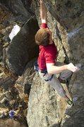 Rock Climbing Photo: Steep pinching on Wild Blue Yonder, Rumney, NH