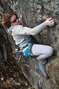 Rock Climbing Photo: Lily finishing up the 2nd ascent of the friend zon...