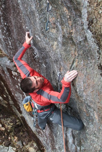 Rock Climbing Photo: Baldy looking for the next good hold...