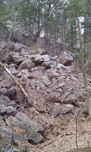 Large overhanging boulder found off the Grottos trail more towards the CCC trail. (Right side of photo) Looks small in the photo but probably about 15-18ft.