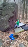 Rock Climbing Photo: John K. just after making the throw to the right c...
