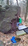 Rock Climbing Photo: John K. moving into the thumb catch.