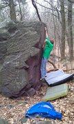 Rock Climbing Photo: John K. hitting the crux crimp