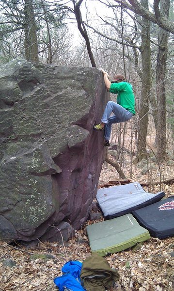 Rock Climbing Photo: John toppin' her out on.